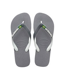 ca37f68e3616 HAVAIANAS BRASIL MIX- Steel Grey   White   White Flip Flops for women