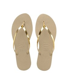 bc6ab990e HAVAIANAS YOU METALLIC- Sand Grey   Light Golden Flip Flops for women